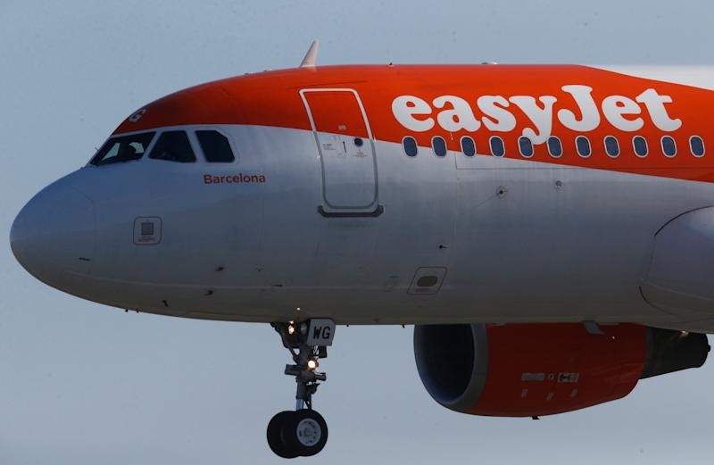 A Easy Jet Airbus A320-200 plane lands at the Nantes-Atlantique airport in Bouguenais near Nantes, France, February 12, 2019. REUTERS/Stephane Mahe