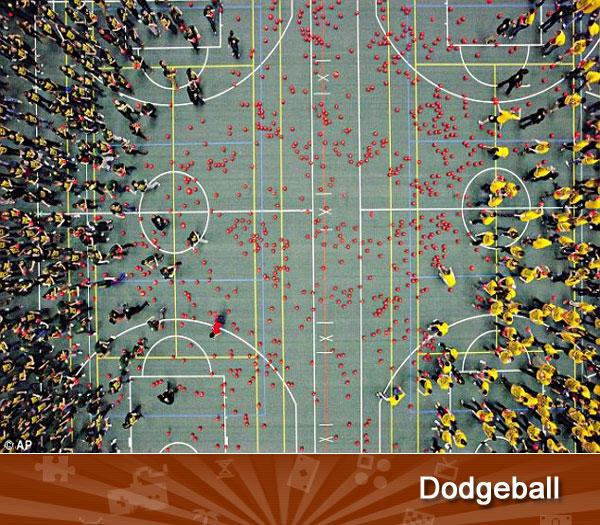 "DODGEBALL -- In February, Canadian students <a href=""http://www.dailymail.co.uk/news/article-2098577/Dodge-Students-hold-worlds-largest-game-dodgeball-4-979-players.html"">set a world record</a> for the largest game of dodgeball ever played. Some 4,979 people flung 1,250 balls at each other for about an hour at the University of Alberta, beating the record set by the University of California in Irvine. That feat may not stand long, though, as the two schools have been fighting over dodgeball bragging rights for years."