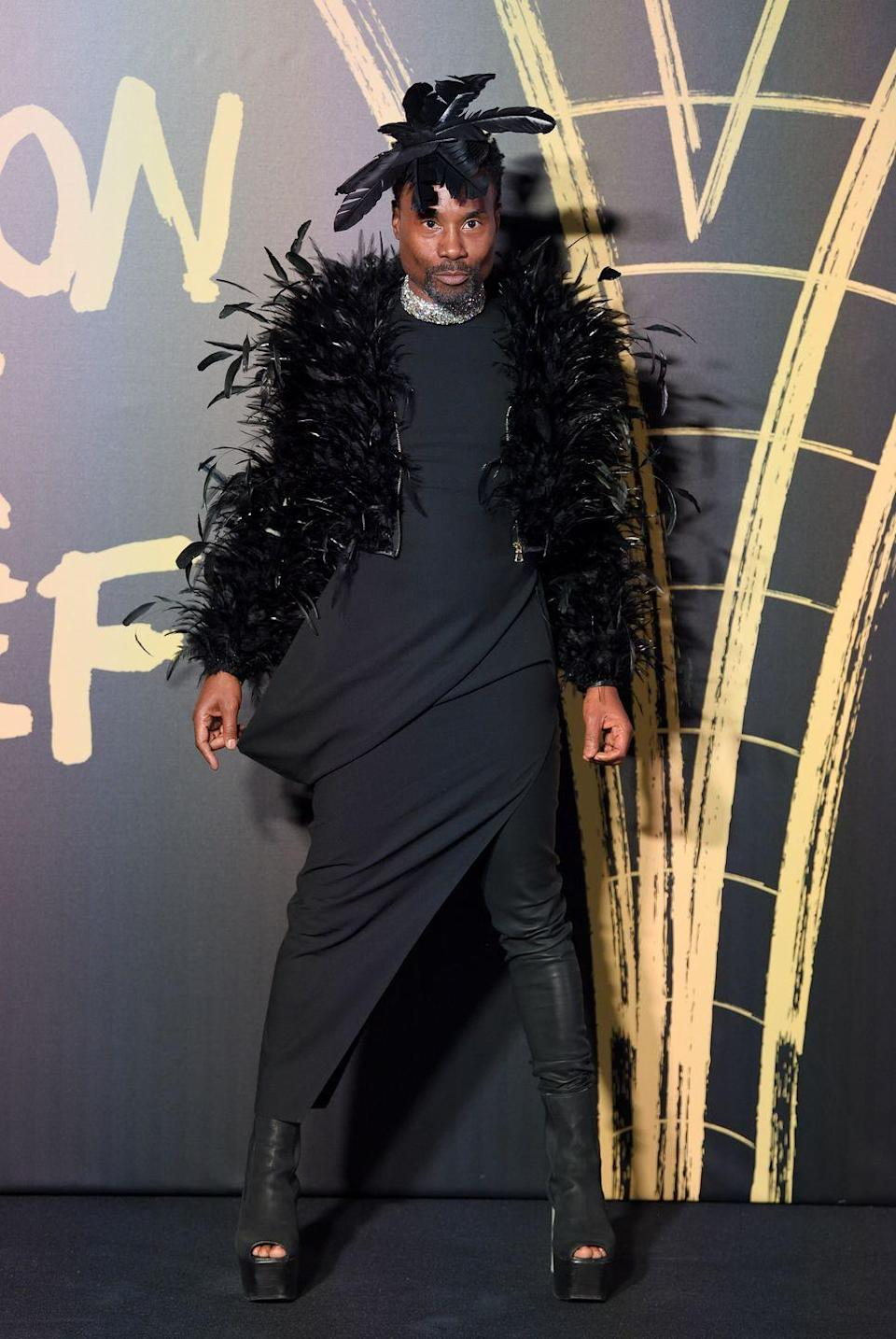 <p>The actor attended the annual show wearing a black feathered jacket by Adrian Manceras, a black dress and peep-toe boots by Rick Owens, a black feathered hat by Stephen Jones and diamond chocker necklace by Alexis Bittar. </p>