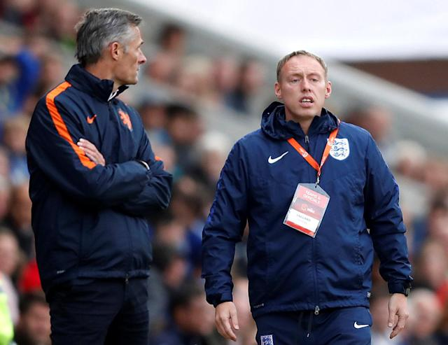 Soccer Football - UEFA European Under-17 Championship Semi-Final - England vs Netherlands - Proact Stadium, Chesterfield, Britain - May 17, 2018 England Under 17's manager Steven Copper Action Images via Reuters/Carl Recine