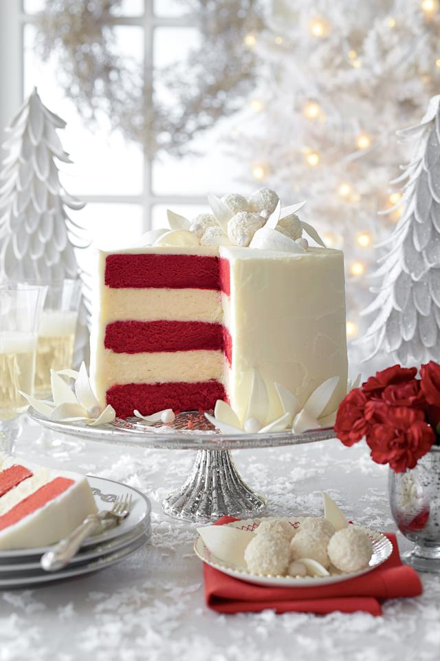 "<p><strong>Recipe:</strong> <a rel=""nofollow"" href=""http://www.myrecipes.com/recipe/red-velvet-white-chocolate-cheesecake-50400000131819/""><strong>Red Velvet-White Chocolate Cheesecake</strong></a></p><p>Whimsy meets elegance in all five layers of this red velvet-white chocolate wonder.</p><p><strong>Watch:</strong> <a rel=""nofollow"" href=""http://www.southernliving.com/food/how-to/december-white-layer-cake-00417000085643/""><strong>Assembling Our White Layer Cake</strong></a></p>"