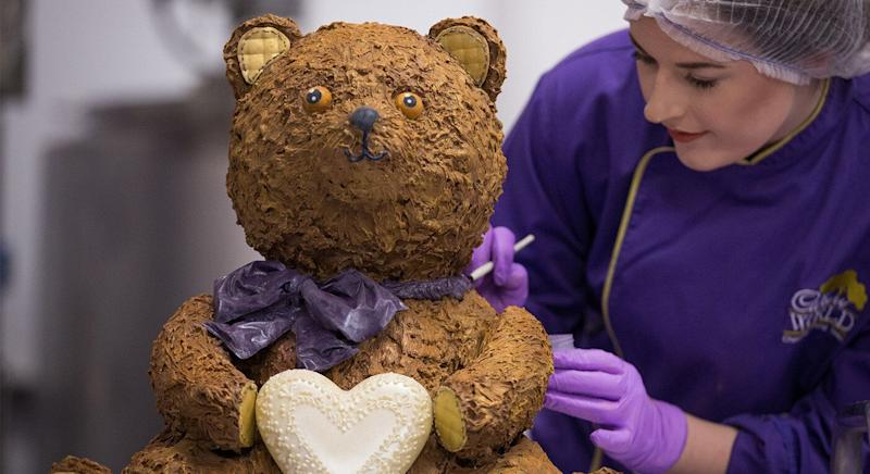 The Cadbury World bear is made entirely of chocolate. [Photo: PA]