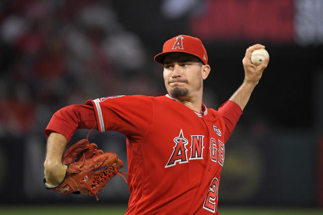 Los Angeles Angels starting pitcher Andrew Heaney throws during the first inning of the team's baseball game against the Tampa Bay Rays on Friday, Sept. 13, 2019, in Anaheim, Calif. (AP Photo/Mark J. Terrill)