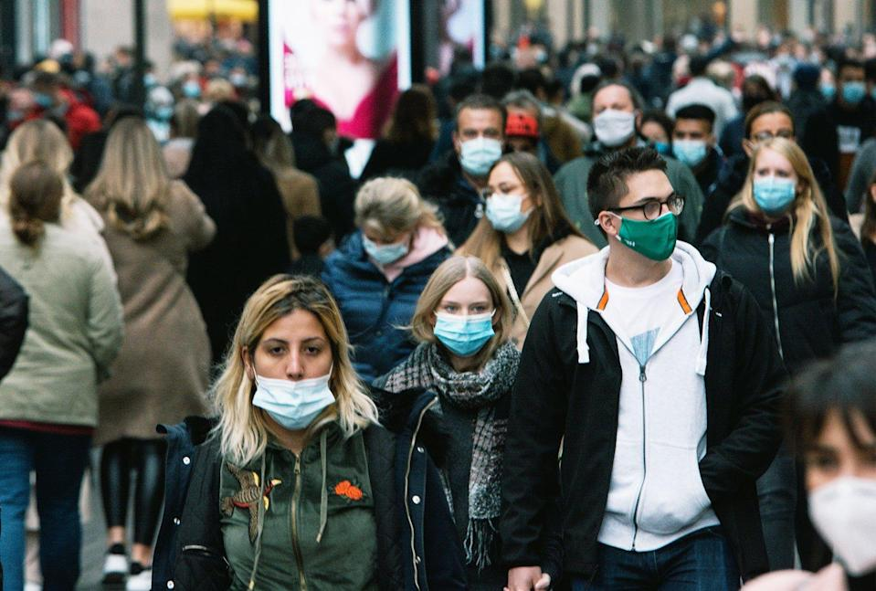 People wearing masks in the city