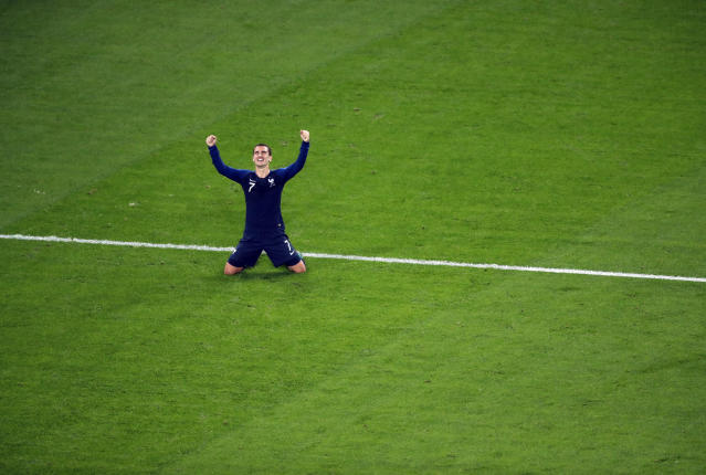 <p>France's Antoine Griezmann celebrates at the end of the semifinal match between France and Belgium at the 2018 soccer World Cup in the St. Petersburg Stadium in St. Petersburg, Russia, Tuesday, July 10, 2018. (AP Photo/Pavel Golovkin) </p>