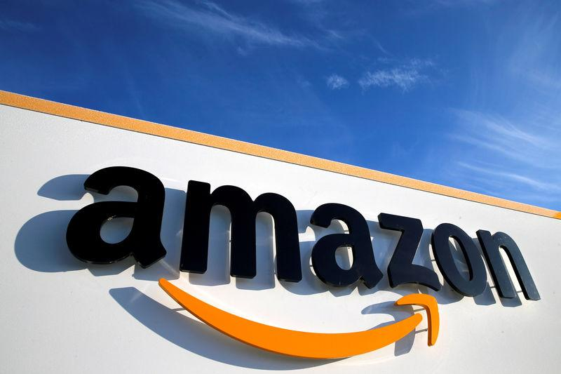 FILE PHOTO: The logo of Amazon is seen at the company logistics centre in Boves, France