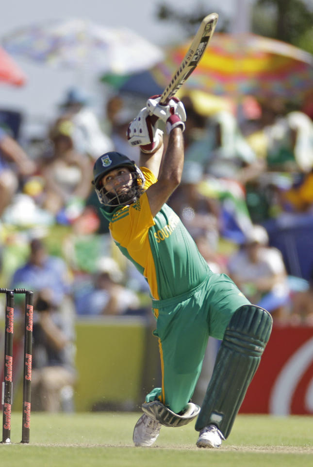 South African batsman Hashim Amla plays a shot during the first one day international against Sri Lanka held in Paarl, South Africa, Wednesday, Jan 11, 2012. (AP Photo/Schalk van Zuydam)