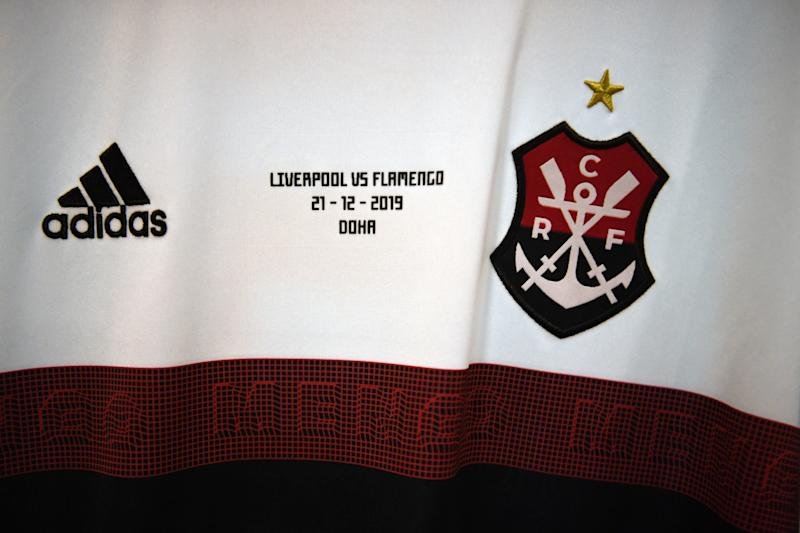 DOHA, QATAR - DECEMBER 21: A detailed view of the CR Flamengo kit shows the CR Flamengo emblem as the kit is displayed inside the dressing room ahead of the FIFA Club World Cup Qatar 2019 Final match between Liverpool FC and CR Flamengo at Khalifa International Stadium on December 21, 2019 in Doha, Qatar. (Photo by David Ramos - FIFA/FIFA via Getty Images)
