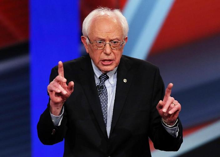 Democratic presidential candidate Senator Bernie Sanders speaks during a town hall meeting on February 3, 2016 in Derry, New Hampshire (AFP Photo/Joe Raedle )