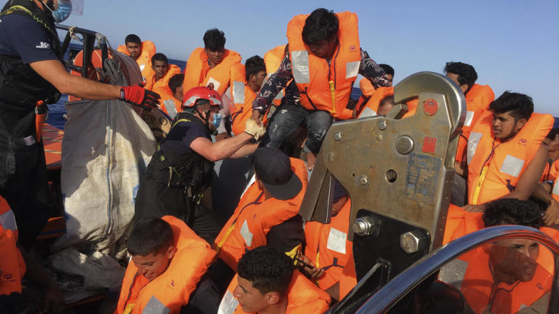 Migrants leave Ocean Viking rescue ship in Sicily after tense wait