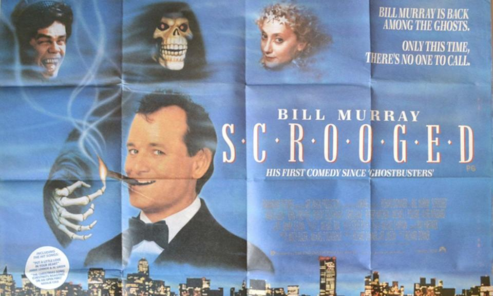 "Early posters for 'Scrooged' featured the tagline ""Bill Murray is back amongst the ghosts. Only this time, there's no-one to call"" in reference to his earlier hit 'Ghostsbusters'."
