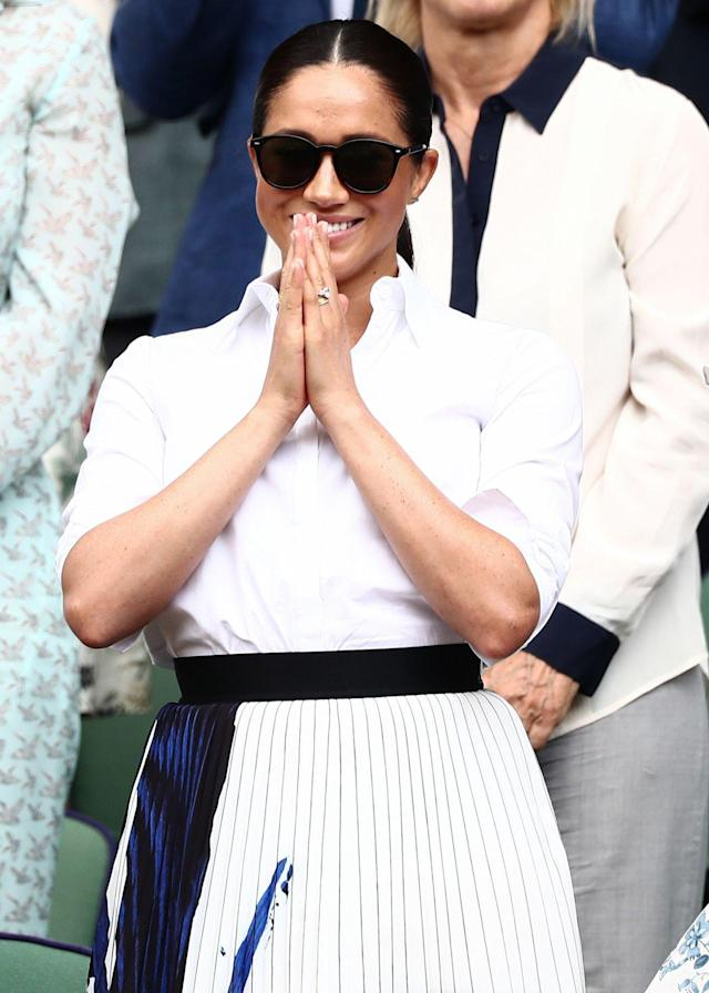 """Meghan Markle <a href=""""https://people.com/royals/meghan-markle-kate-middleton-wimbledon-sisters-in-law-date/"""" rel=""""nofollow noopener"""" target=""""_blank"""" data-ylk=""""slk:attended at the Ladies' Singles Final at Wimbledon"""" class=""""link rapid-noclick-resp"""">attended at the Ladies' Singles Final at Wimbledon</a> with Kate Middleton and Pippa Middleton wearing a white button-down shirt which she paired with a pleated white and blue skirt from Hugo Boss. <strong>Get the Look!</strong> Howriis Women's Summer Chiffon Pleated A-line Midi Skirt Dress, $27.99; <a href=""""https://www.amazon.com/Howriis-Womens-Summer-Chiffon-Pleated/dp/B07PVS1T53/ref=as_li_ss_tl?keywords=pleated+white+midi+skirt&qid=1563386902&s=gateway&sr=8-20-spons&psc=1&linkCode=ll1&tag=poamzfmeghanmarklesummerstyle2019kphillips0719-20&linkId=30807c82430730807b5c8a0553586558&language=en_US"""" rel=""""nofollow noopener"""" target=""""_blank"""" data-ylk=""""slk:amazon.com"""" class=""""link rapid-noclick-resp"""">amazon.com</a> Chelsea28 Stripe Wrap Skirt, $47.40 (orig. $79); <a href=""""https://click.linksynergy.com/deeplink?id=93xLBvPhAeE&mid=1237&murl=https%3A%2F%2Fshop.nordstrom.com%2Fs%2Fchelsea28-stripe-wrap-skirt%2F5135989&u1=PEO%2CShopping%3AEverythingYouNeedtoCopyMeghanMarkle%27sChicSummerStyle%2Ckamiphillips2%2CUnc%2CGal%2C6939680%2C201909%2CI"""" rel=""""nofollow noopener"""" target=""""_blank"""" data-ylk=""""slk:nordstrom.com"""" class=""""link rapid-noclick-resp"""">nordstrom.com</a> Max Studio Pleated Striped Midi Skirt, $48.30 (orig. $69); <a href=""""https://click.linksynergy.com/deeplink?id=93xLBvPhAeE&mid=36025&murl=https%3A%2F%2Fwww.lastcall.com%2FMax-Studio-Pleated-Striped-Midi-Skirt-pleated-midi-skirt%2Fprod53940361___%2Fp.prod&u1=PEO%2CShopping%3AEverythingYouNeedtoCopyMeghanMarkle%27sChicSummerStyle%2Ckamiphillips2%2CUnc%2CGal%2C6939680%2C201909%2CI"""" rel=""""nofollow noopener"""" target=""""_blank"""" data-ylk=""""slk:lastcall.com"""" class=""""link rapid-noclick-resp"""">lastcall.com</a> BCBGMAXAZRIA Two-Tone Pleated Midi Skirt, $139.30 (orig. $199); <a href=""""https://click.li"""