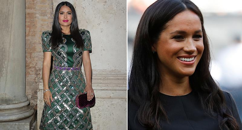 Salma Hayek didn't tell anyone about Meghan guest editing British Vogue. [Photo: Getty]