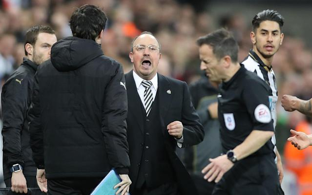 <span>Rafa Benitez was not amused by Stroud's decision</span> <span>Credit: PA </span>
