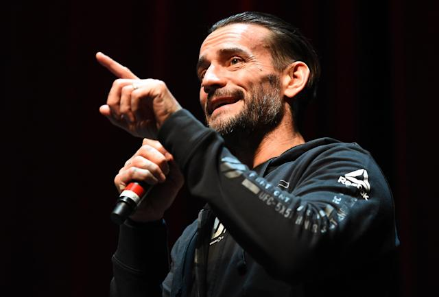 CM Punk interacts with fans during the UFC 225 Open Workouts at the Chicago Theatre on Wednesday. (Getty Images)