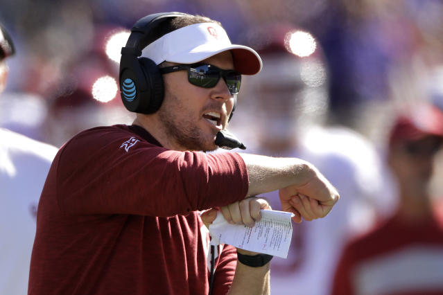 Oklahoma head coach Lincoln Riley calls for a time out during the second half of an NCAA college football game against Kansas State, Saturday, Oct. 26, 2019, in Manhattan, Kan. Kansas State won 48-41. (AP Photo/Charlie Riedel)
