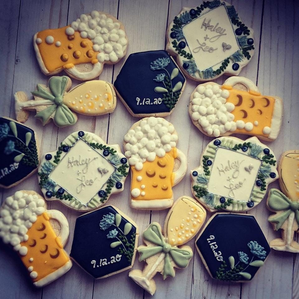 "<h2>Wedding Inspired Shortbread Cookies</h2><br>Who doesn't want a tin of well-decorated and delicious-tasting cookies? We can't think of anyone. Custom orders are available — but hurry, they sell out fast! <br><br><em>Shop <strong><a href=""https://www.etsy.com/shop/PentUpCookieCompan"" rel=""nofollow noopener"" target=""_blank"" data-ylk=""slk:Pent Up Cookie Company"" class=""link rapid-noclick-resp"">Pent Up Cookie Company</a></strong></em><br><br><strong>PentUpCookieCompany</strong> Wedding Cookies, $, available at <a href=""https://go.skimresources.com/?id=30283X879131&url=https%3A%2F%2Fwww.etsy.com%2Flisting%2F861017927%2Fcookies-inspired-by-weddings"" rel=""nofollow noopener"" target=""_blank"" data-ylk=""slk:Etsy"" class=""link rapid-noclick-resp"">Etsy</a>"