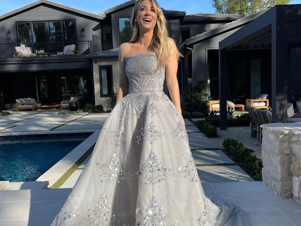 """<h2>2021</h2><br>Kaley Cuoco looked every bit a princess in this embellished, silver Oscar de la Renta gown.<span class=""""copyright"""">Photo Credit: Brad Goreski.</span>"""