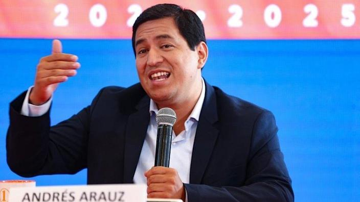 Andres Arauz speaks at a news conference after obtaining the most votes in the first round of the 2021 presidential elections, in Quito, Ecuador, 09 February 2021.