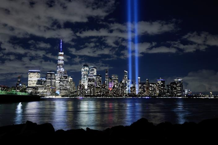 The Tribute in Light is illuminated over the skyline of lower Manhattan and One World Trade Center in New York City on September 11, 2020 as seen from Jersey City, New Jersey. (Gary Hershorn/Getty Images)
