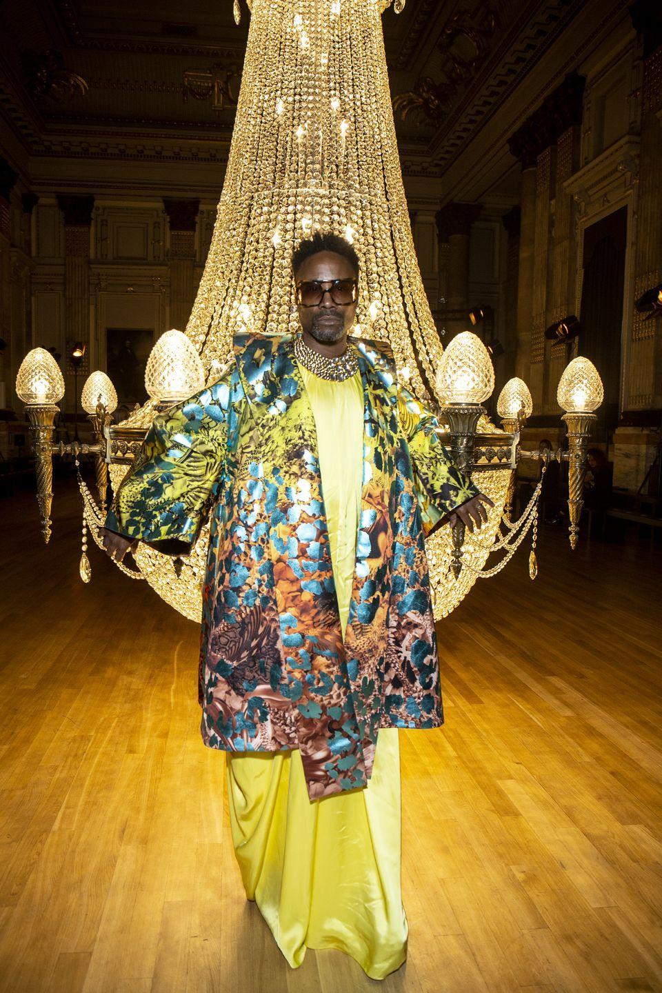 <p>Porter attended Halpern SS20 wearing a canary yellow floor-length gown with a multicoloured kimono.</p>