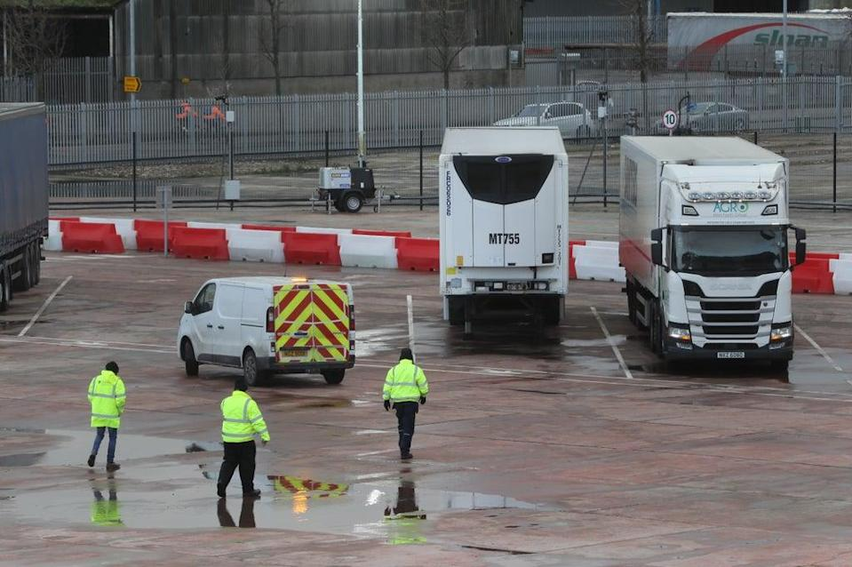 A temporary checking facility in Belfast port for lorries arriving from Great Britain (Liam McBurney/PA) (PA Archive)