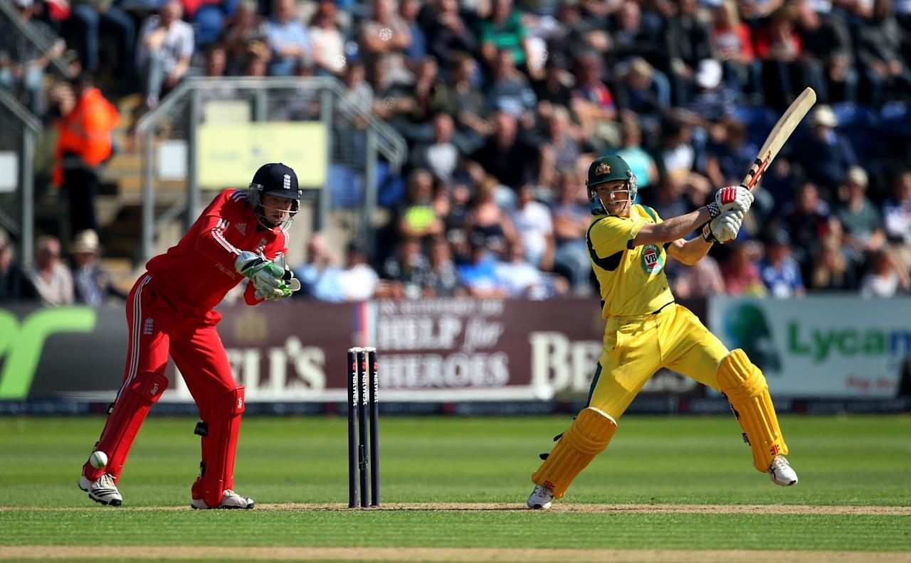 Australia's George Bailey batting during the fourth one day international at the SWALEC Stadium, Cardiff.