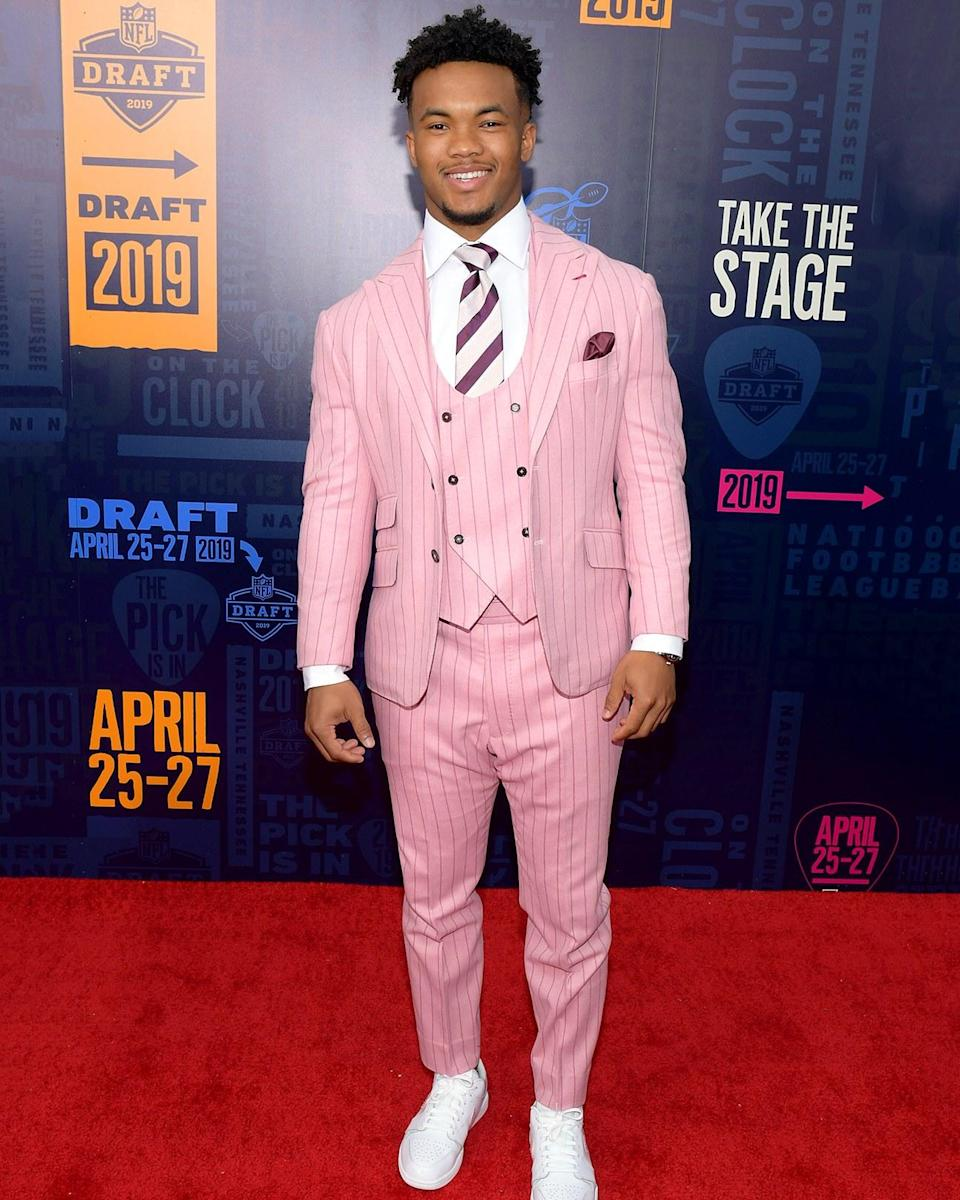 """<h1 class=""""title"""">April 26: Kyler Murray</h1> <div class=""""caption""""> Freshly-minted #1 overall pick Kyler Murray will be bringing a whole lot more of his Gatsby-inflected style to the NFL next season. </div> <cite class=""""credit"""">Jason Kempin</cite>"""