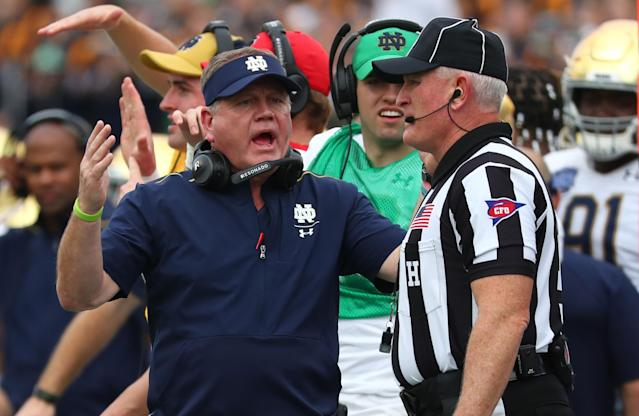 """Notre Dame Fighting Irish head coach Brian Kelly reacts to the referee during a game against the <a class=""""link rapid-noclick-resp"""" href=""""/ncaaw/teams/iowa-st/"""" data-ylk=""""slk:Iowa State Cyclones"""">Iowa State Cyclones</a>. (USA TODAY Sports)"""