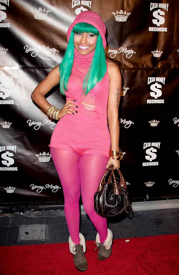 """Also caught-up in the neon craze ... budding hip-hop superstar Nicki Minaj, who looked like a cartoon character upon arriving at Lil Wayne's prison release party in a fluorescent fashion faux pas. John Parra/<a href=""""http://www.wireimage.com"""" target=""""new"""">WireImage.com</a> - November 7, 2010"""