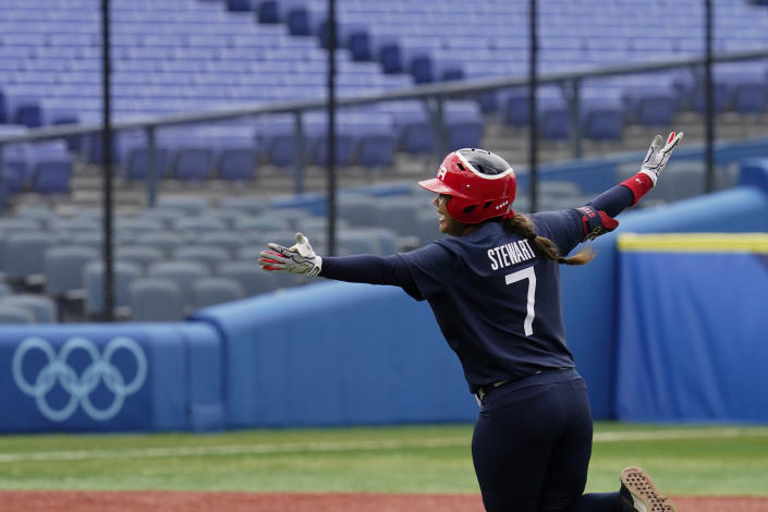 United States' Kelsey Stewart (7) celebrates her game winning home run against Japan in the seventh inning of a softball game at the 2020 Summer Olympics, Monday, July 26, 2021, in Yokohama, Japan. (AP Photo/Sue Ogrocki)