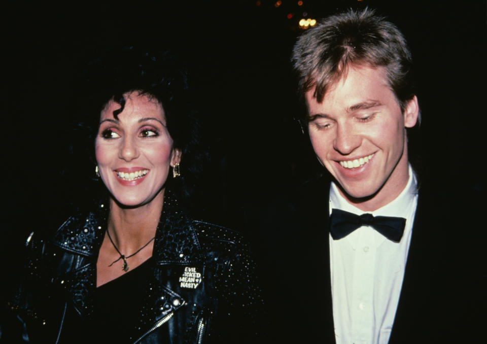 Cher and actor Val Kilmer attend the 36th Annual Tony Awards After Party on June 6, 1982 at the Waldorf-Astoria Hotel in New York City. (Photo by Walter McBride/Corbis via Getty Images)