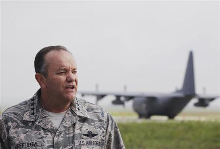 NATO's top military chief, General Breedlove, attends a news conference at Pristina Military Airport