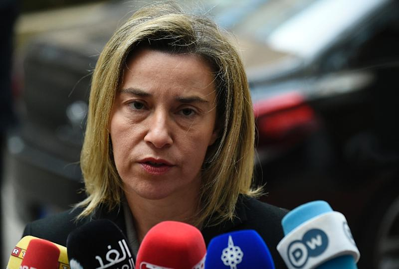 EU High Representative for Foreign Affairs and Security Policy Federica Mogherini arrives for a meeting of EU Foreign Affairs Ministers with Iran, Russia, Libya and the Middle East peace process on the agenda in Brussels on March 14, 2016 (AFP Photo/John Thys)