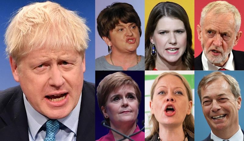 A combination of pictures created in London on November 1, 2019 shows political party leaders whose members will be vying for seats in the House of Commons in the 2019 general election: Britain's Prime Minister and Conservative Party leader Boris Johnson (L) and (L-R top) Northern Ireland's Democratic Unionist Party (DUP) leader Arlene Foster, Liberal Democrats leader Jo Swinson and Britain's main opposition Labour Party leader Jeremy Corbyn, (L-R bottom) Scottish Nationalist Party (SNP) leader Nicola Sturgeon, Green Party co-leader Sian Berry and Brexit Party leader Nigel Farage. - Britain will go to the polls on December 12, 2019 to vote in a pre-Christmas general election. (Photo by - / AFP) (Photo by -/AFP via Getty Images)