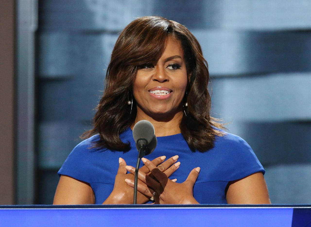 """<p>""""[Barack and I]explain that when someone is cruel, or acts like a bully, you don't stoop to their level. No, our motto is, when they go low, we go high.<span>"""" —Michelle Obama, delivering an emotional appeal on opening night of theDNC<span></span></span></p>"""