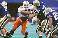 """<p>Before his A-list movie career, Dwayne Johnson was a college <a href=""""https://www.sbnation.com/college-football/2018/5/1/17305438/warren-sapp-dwayne-the-rock-johnson-miami-teammates"""" rel=""""nofollow noopener"""" target=""""_blank"""" data-ylk=""""slk:football star for the University of Miami"""" class=""""link rapid-noclick-resp"""">football star for the University of Miami</a>. He was a defensive lineman and played until he graduated in 1995. After college, Johnson attempted to make it professionally, but ended up pivoting to a wrestling career for the WWE. </p>"""