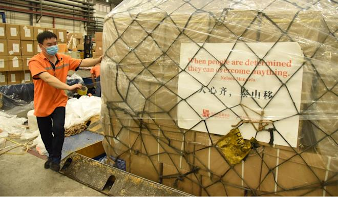 Medical supplies donated by the Alibaba and Jack Ma foundations are prepared to be sent from Guangzhou's airport to Addis Ababa in Ethiopia on Saturday. Photo: Xinhua