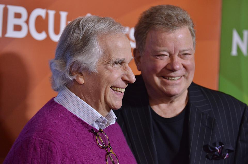 (L-R) Henry Winkler and William Shatner arrives at the 2018 NBCUniversal Winter Press Tour held at The Langham Huntington Hotel in Pasadena, CA on Tuesday, January 9, 2018. (Photo By Sthanlee B. Mirador/Sipa USA)