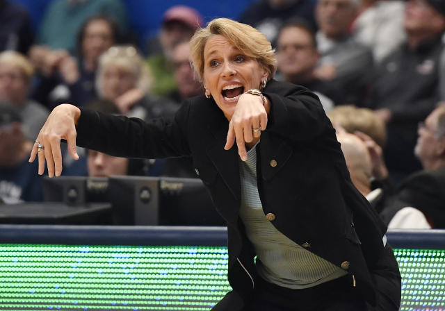 Tulane head coach Lisa Stockton reacts in the first half of an NCAA college basketball game against Connecticut, Wednesday, Feb. 19, 2020, in Hartford, Conn. (AP Photo/Jessica Hill)