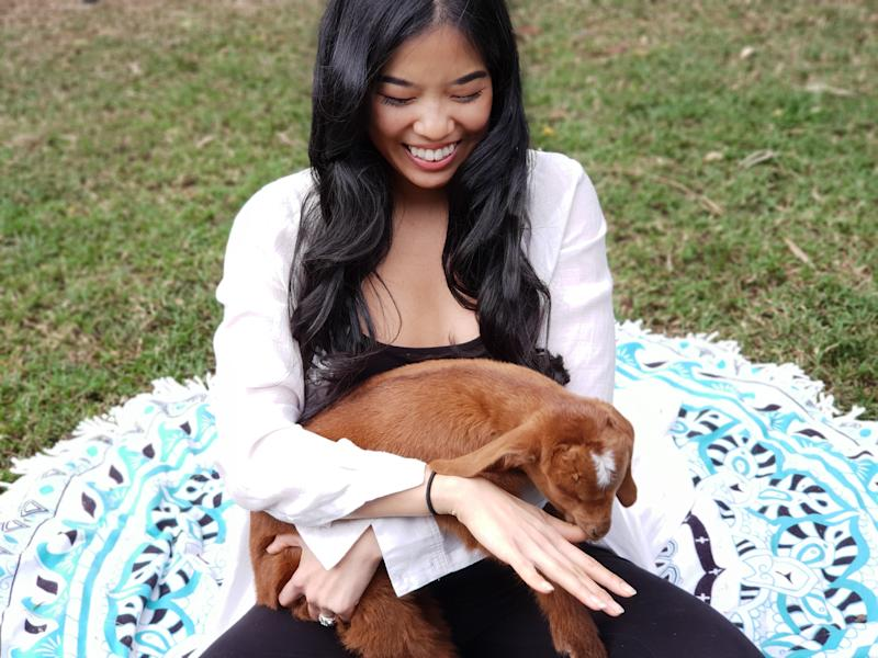 Goat Meditation has been launched in Australia by wellness coach Ber Tan. Source: Supplied/BerTan