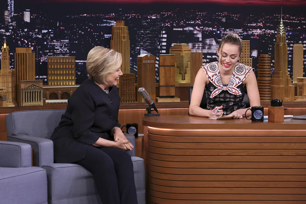"<p>Just this month, Miley Cyrus explained her feelings about Clinton when she <a rel=""nofollow"" href=""https://www.yahoo.com/tv/miley-cyrus-cries-female-writers-give-hillary-clinton-thank-cards-tonight-show-062912357.html"">wrote her a thank-you note</a> on <em>The Tonight Show Starring Jimmy Fallon</em>. ""Thank you, Hillary, for being a constant beacon of strength, hope, and determination for me and millions of other young women,"" Cyrus wrote in part. It ended with her asking Clinton for a hug. (Photo: Andrew Lipovsky/NBC/NBCU Photo Bank via Getty Images) </p>"