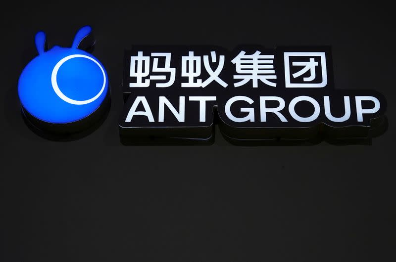 FILE PHOTO: A sign of Ant Group is seen during the World Internet Conference in Wuzhen