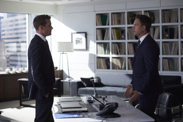 Gabriel Macht as Harvey Spector, with Adams. (Photo by: Shane Mahood/USA Network)