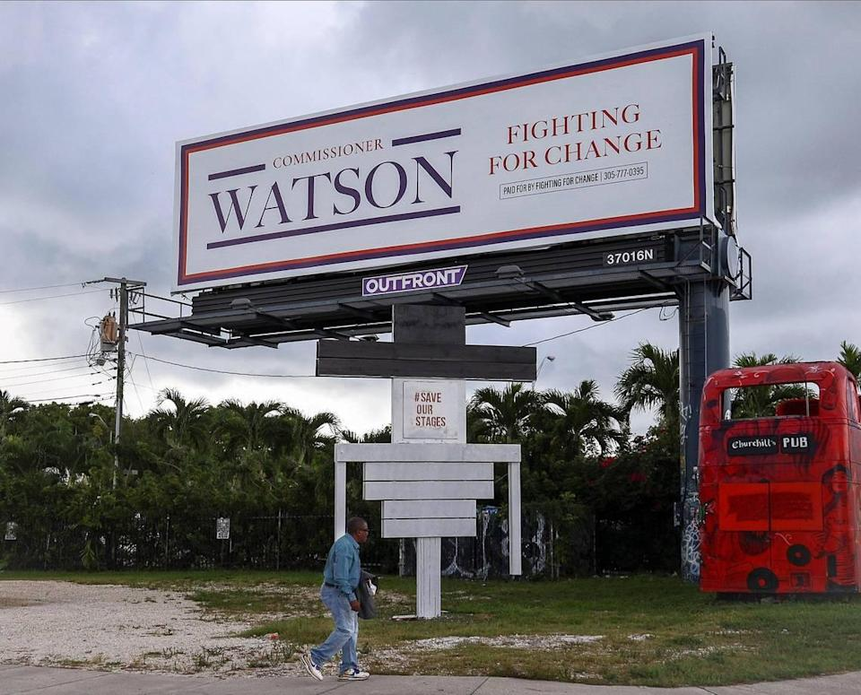 Miami Commissioner Jeffrey Watson has put up a billboard in Little Haiti, all but announcing his candidacy in this year's municipal election. The appointed commissioner used his political committee, Fighting For Change, to pay for the billboard, which was photographed on Thursday, Sept. 16, 2021, days before the qualifying deadline to officially enter the District 5 race.