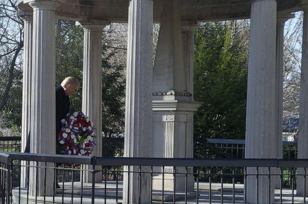 PHOTO: President Donald Trump lays a wreath at the tomb of former president Andrew Jackson after he took a tour of Andrew Jackson's Hermitage in Nashville, Tenn., March 15, 2017. (Nicholas Kamm/AFP via Getty Images, FILE)