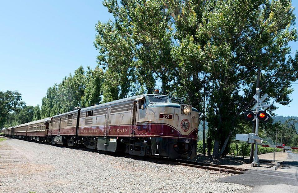 """<p>Equal parts restaurant and museum, the <a href=""""https://www.winetrain.com/"""" rel=""""nofollow noopener"""" target=""""_blank"""" data-ylk=""""slk:Napa Valley Wine train"""" class=""""link rapid-noclick-resp"""">Napa Valley Wine train</a> takes you through some of California's most beautiful wineries on a 36-mile long roundtrip <a href=""""https://www.housebeautiful.com/lifestyle/a30795543/solve-murder-mystery-game-napa-valley-wine-train/"""" rel=""""nofollow noopener"""" target=""""_blank"""" data-ylk=""""slk:excursion train ride"""" class=""""link rapid-noclick-resp"""">excursion train ride</a> between Napa and St.Helena. For riders who want 360-degree views of the surrounding landscape, book the Vista Dome, an observation-style dining car steeped in luxury. </p>"""