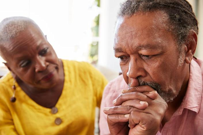 """<span class=""""caption"""">Recovery from depression is a long-term process, and good habits can be crucial to keep recovery on track.</span> <span class=""""attribution""""><a class=""""link rapid-noclick-resp"""" href=""""https://www.shutterstock.com/image-photo/senior-woman-comforting-man-depression-home-755583091"""" rel=""""nofollow noopener"""" target=""""_blank"""" data-ylk=""""slk:Monkey Business Images/Shutterstock"""">Monkey Business Images/Shutterstock</a></span>"""