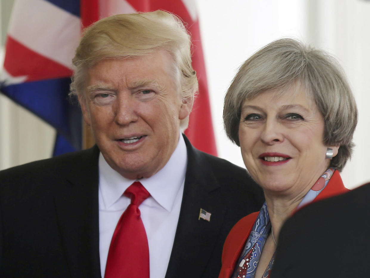 US President Donald Trump greets British Prime MinisterTheresa May as she arrives at the White House in Washington DC: Reuters