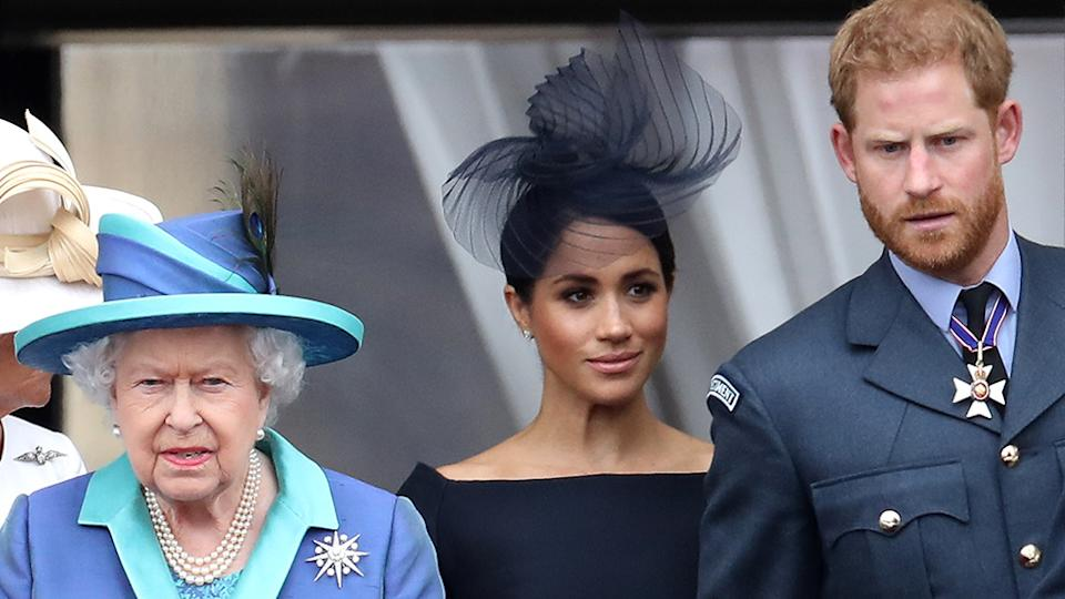 The Queen has seemingly referenced Harry and Meghan during her Commonwealth Day address hours before their Oprah Winfrey interview. Photo: Getty